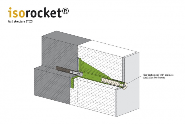 Structure of a WDVS façade with isorocket Concrete. Condition shortened with a plug (rocketseal)